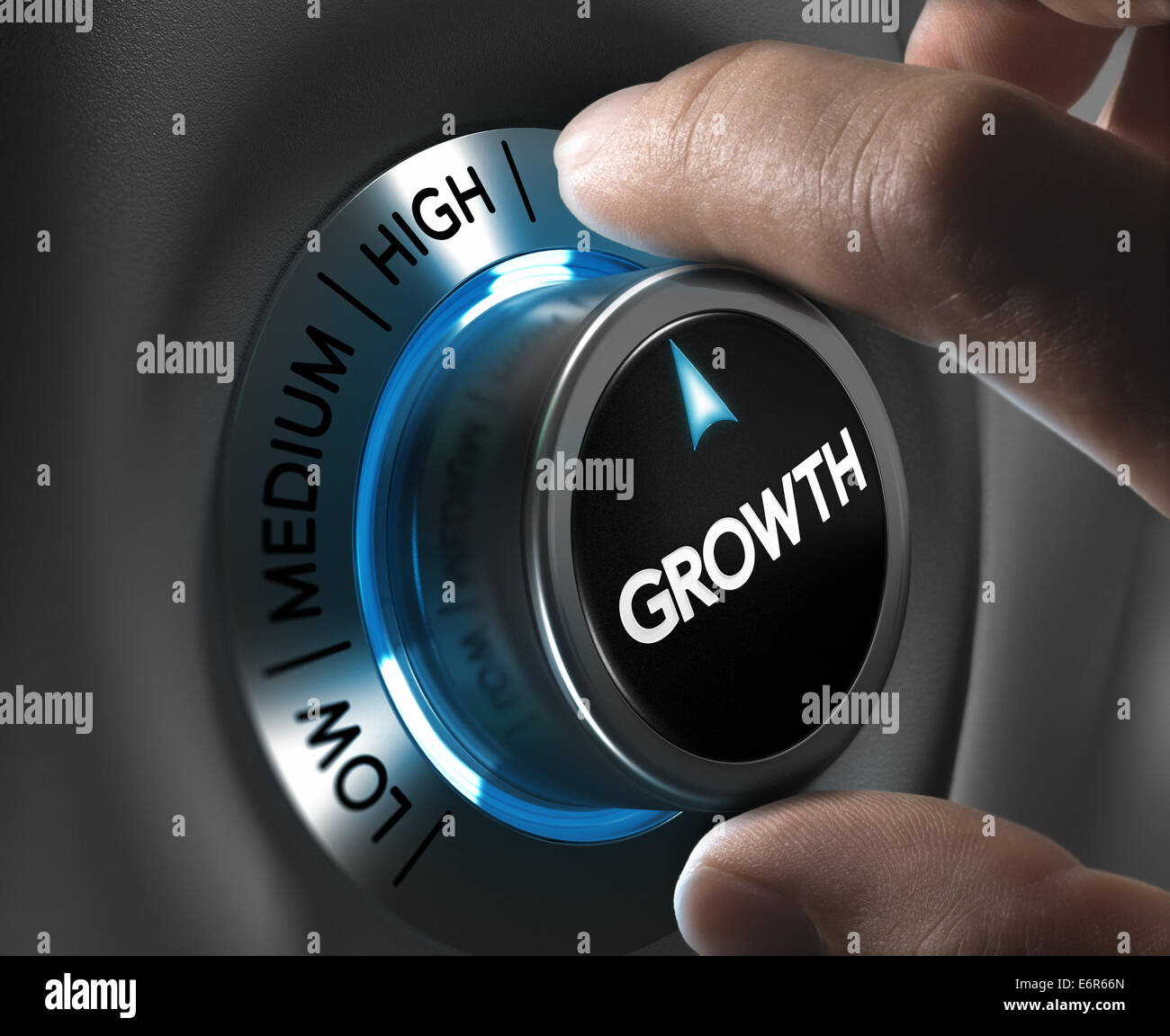Growth button pointing the highest position with two fingers, blue and grey tones, Conceptual image for business - Stock Image