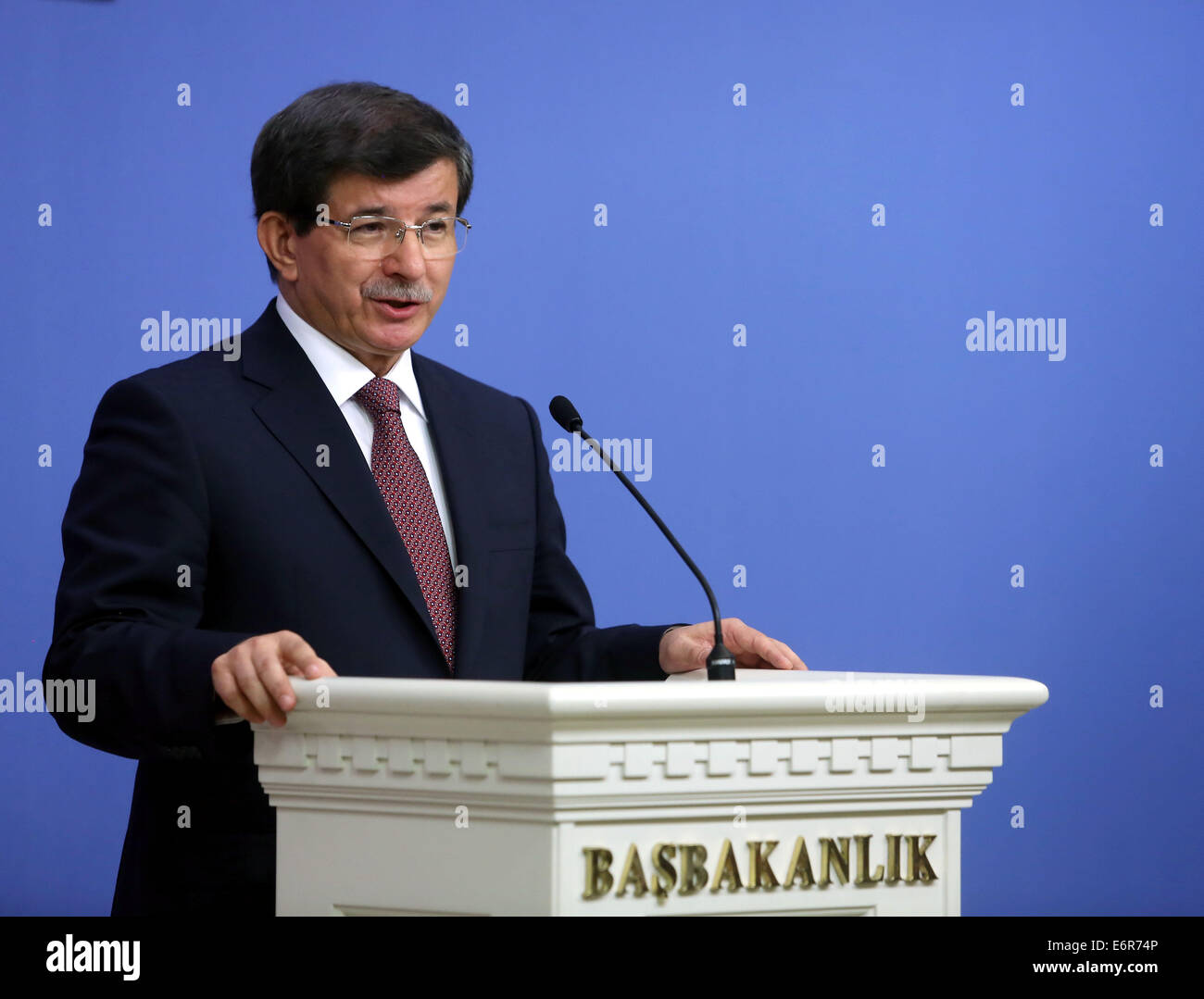Ankara. 29th Aug, 2014. Turkish Prime Minister Ahmet Davutoglu speaks at a press conference in the Turkish capital - Stock Image