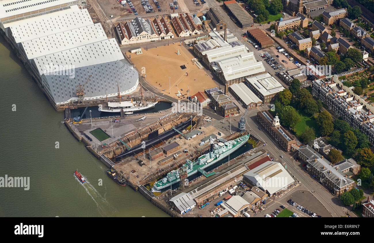 An aerial view of Chatham historic dockyard, Kent, South East England - Stock Image