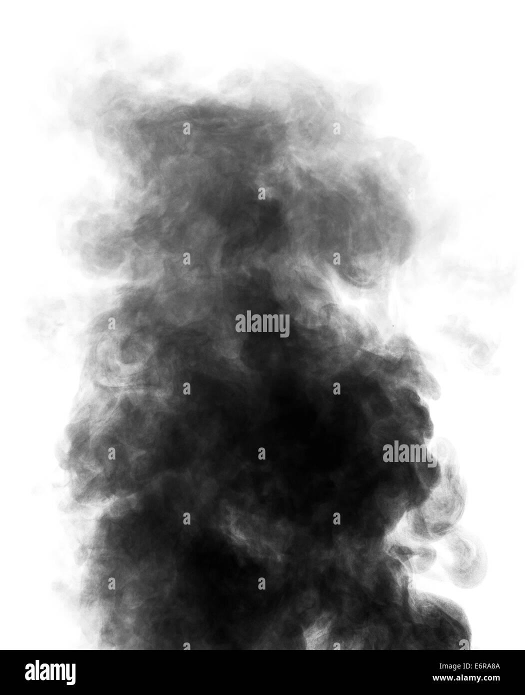 Black steam looking like smoke isolated on white background. Big cloud of black smoke. Stock Photo