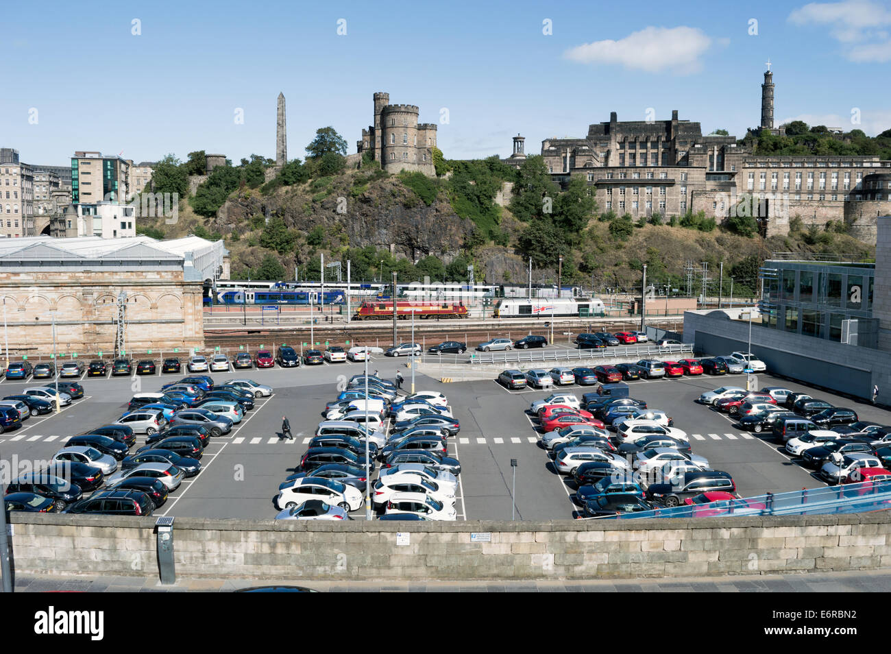 Edinburgh Waverley Train Station Car Park With St Andrew House And Calton Hill In The Background Stock Photo Alamy