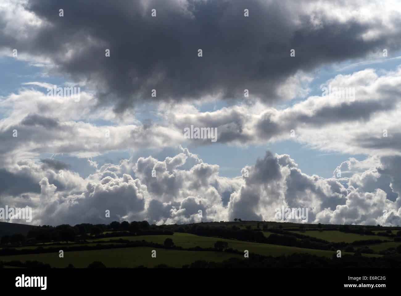 Cumulonimbus clouds over Exmoor, Somerset, England - Stock Image