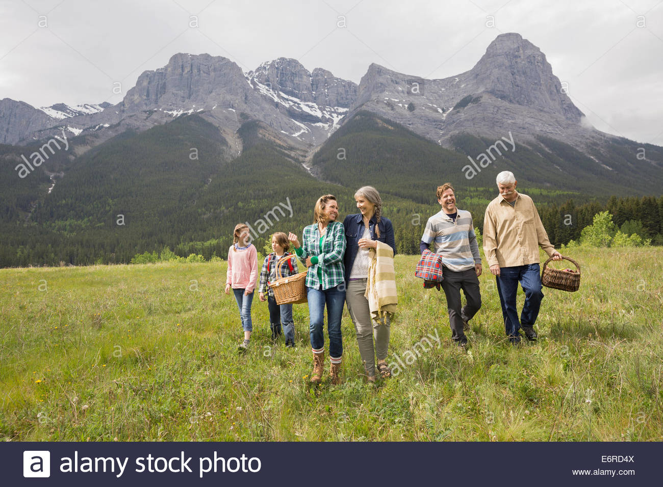 Family having picnic in rural field - Stock Image