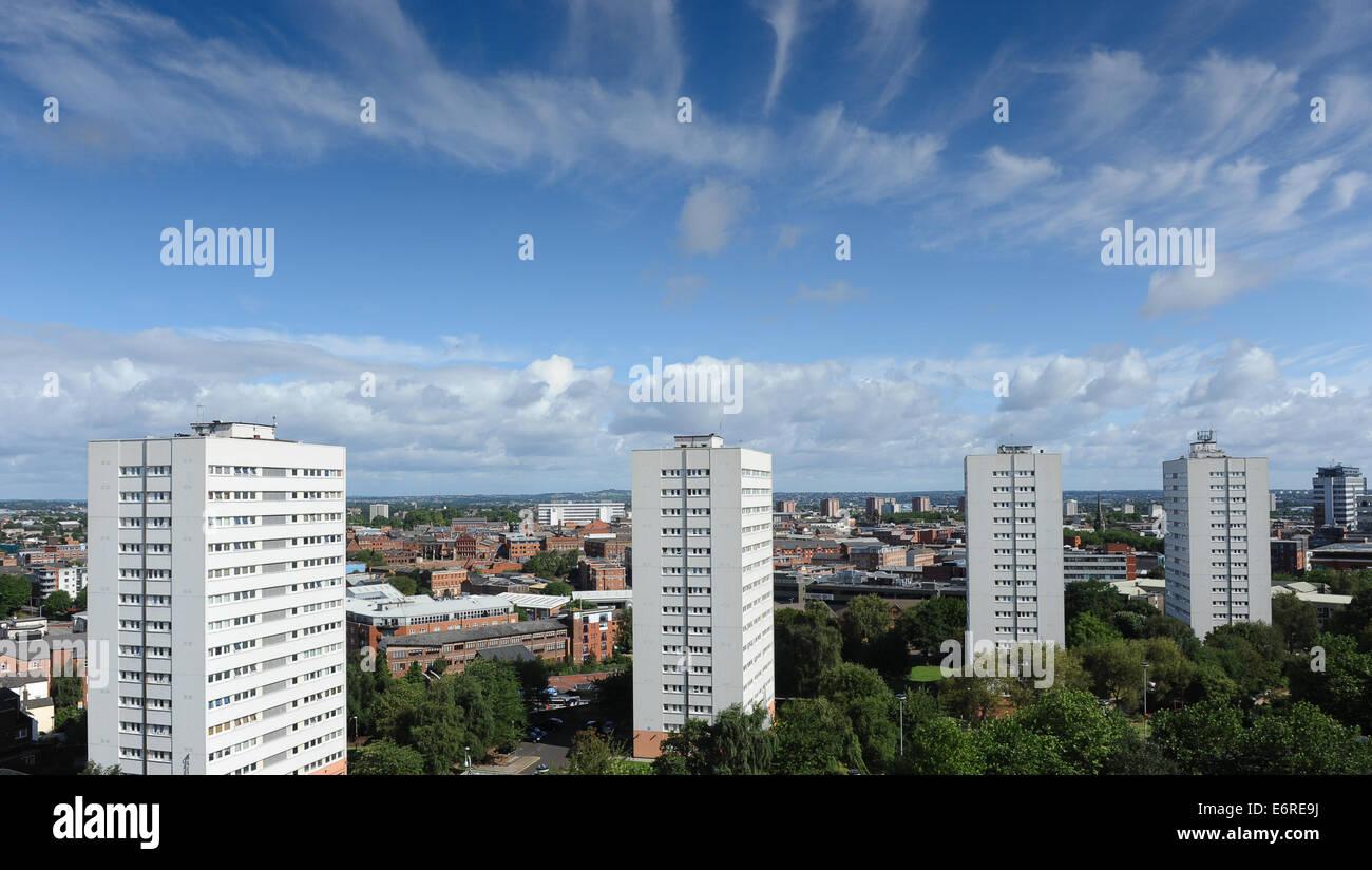 High rise multi storey accomodation flats Birmingham City centre Uk - Stock Image