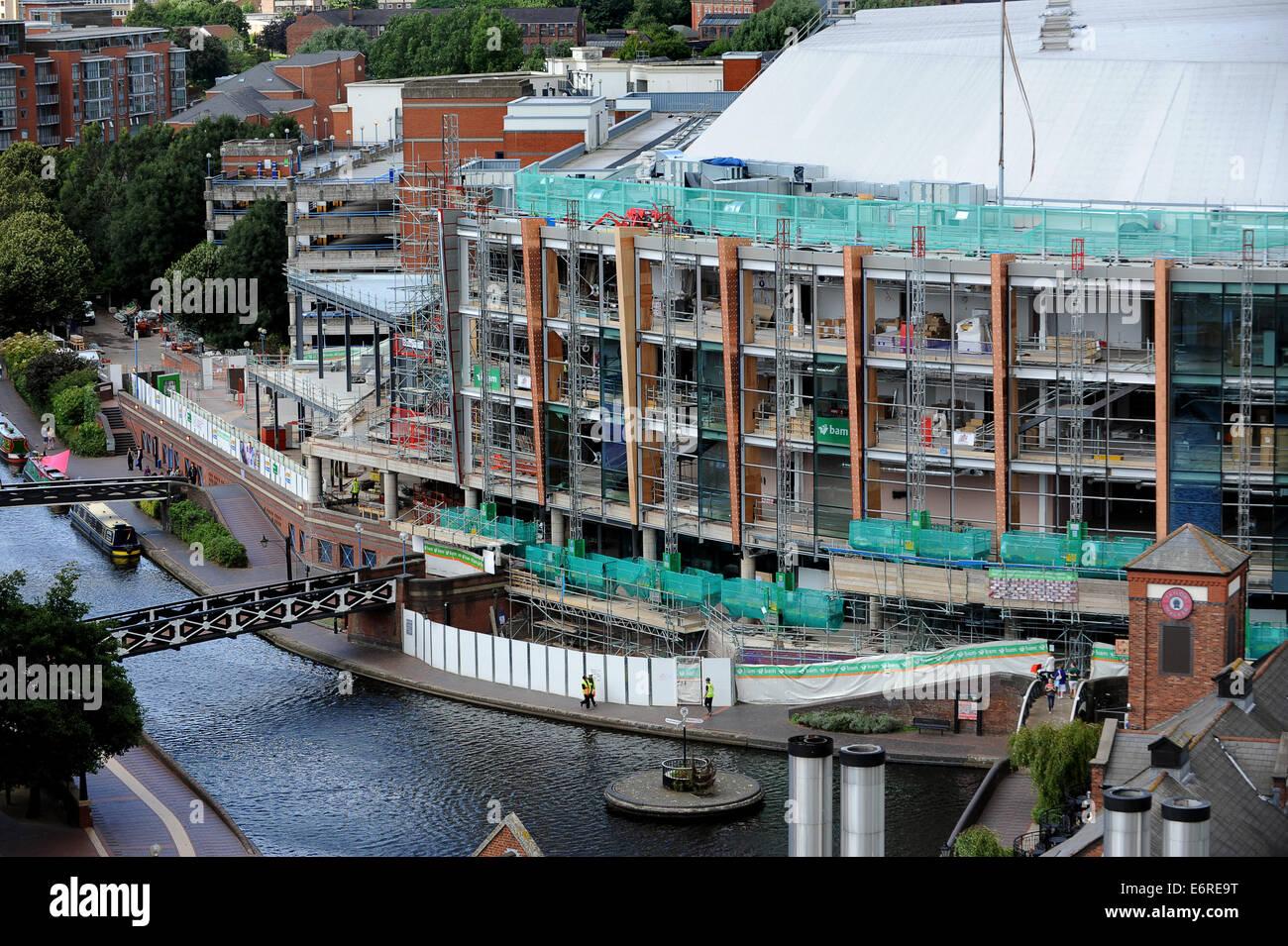 Modern construction work on the National Indoor Arena in Birmingham Uk - Stock Image