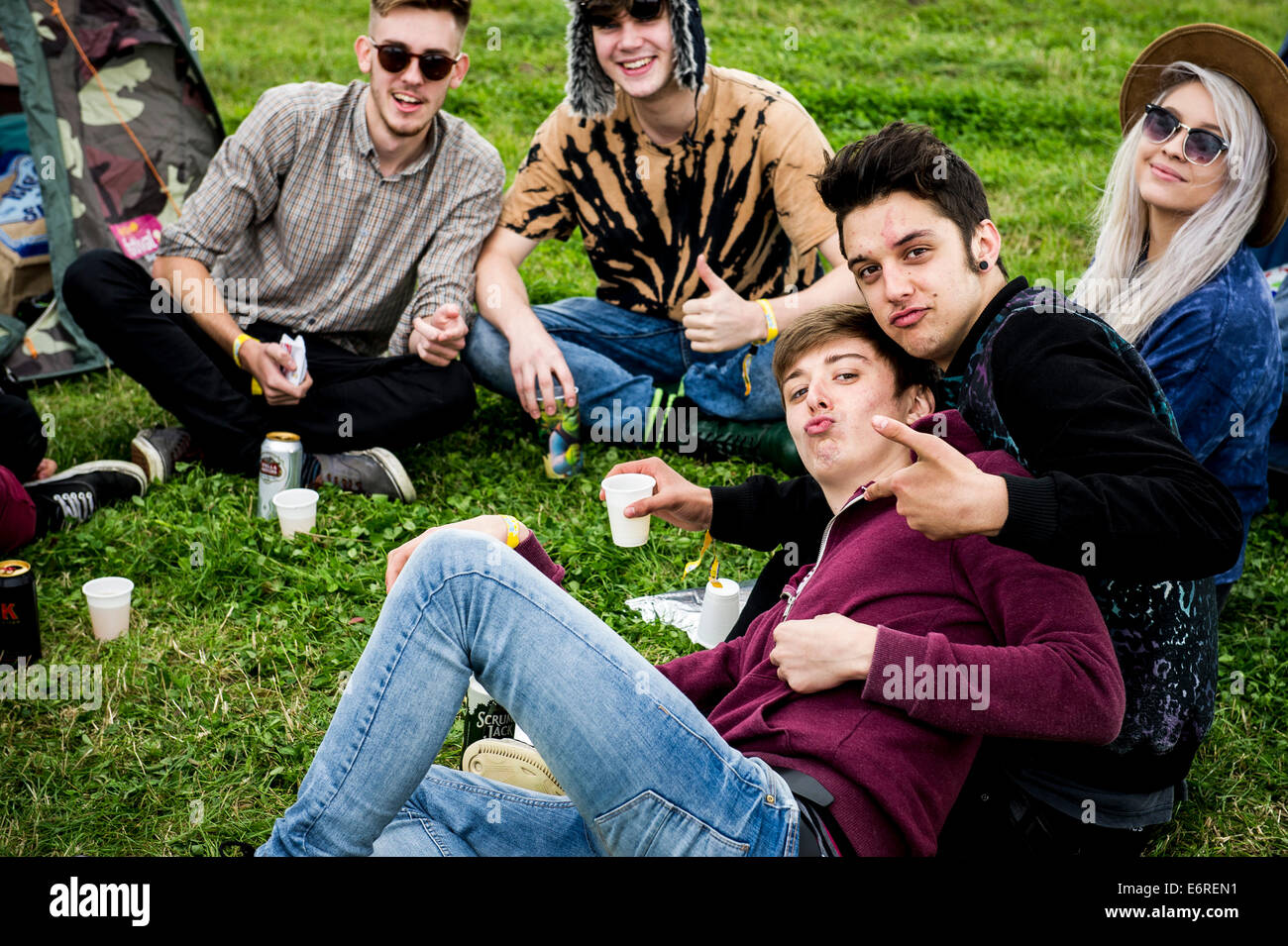 Stow Maries, UK. 29th August 2014. Young festivalgoers at the Brownstock Festival. The festival celebrates it's - Stock Image