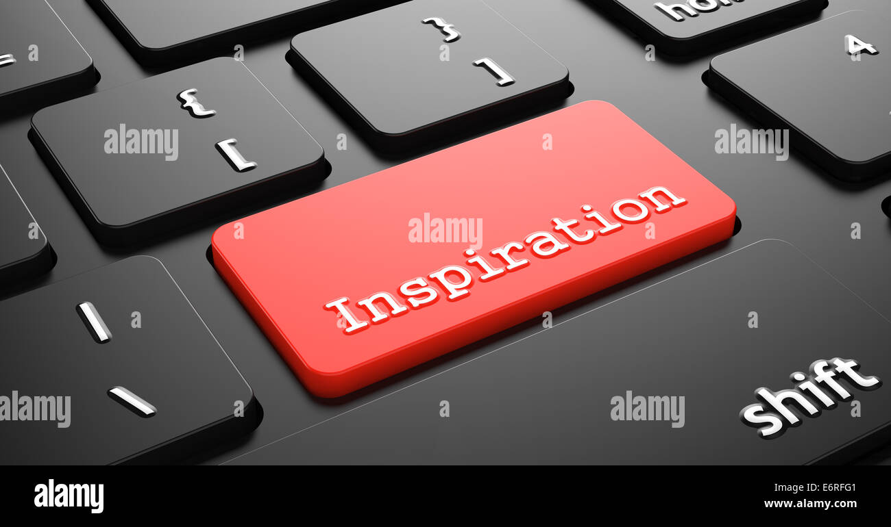 Inspiration on Red Keyboard Button. Stock Photo