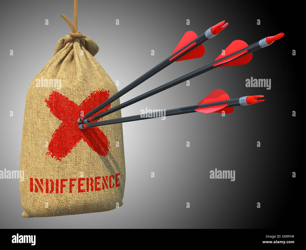 Indifference - Arrows Hit in Red Target. - Stock Image