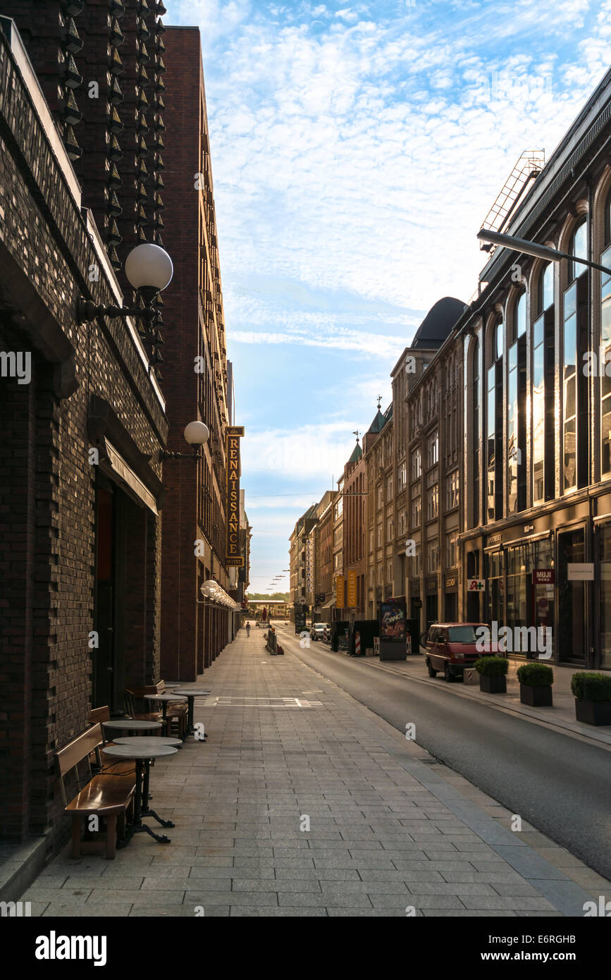 HAMBURG, GERMANY - JULY 20, 2014: Early Sunday morning in the quiet street Grosse Bleichen downtown on July 20, - Stock Image