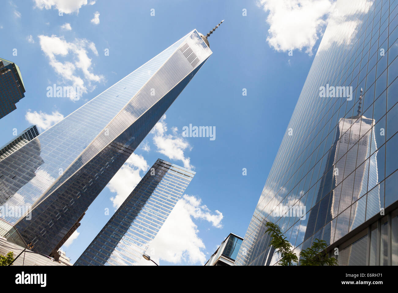 One World Trade Center also known as Tower 1 and Freedom Tower, Tower 7 and Tower 4, Manhattan, New York City, New - Stock Image