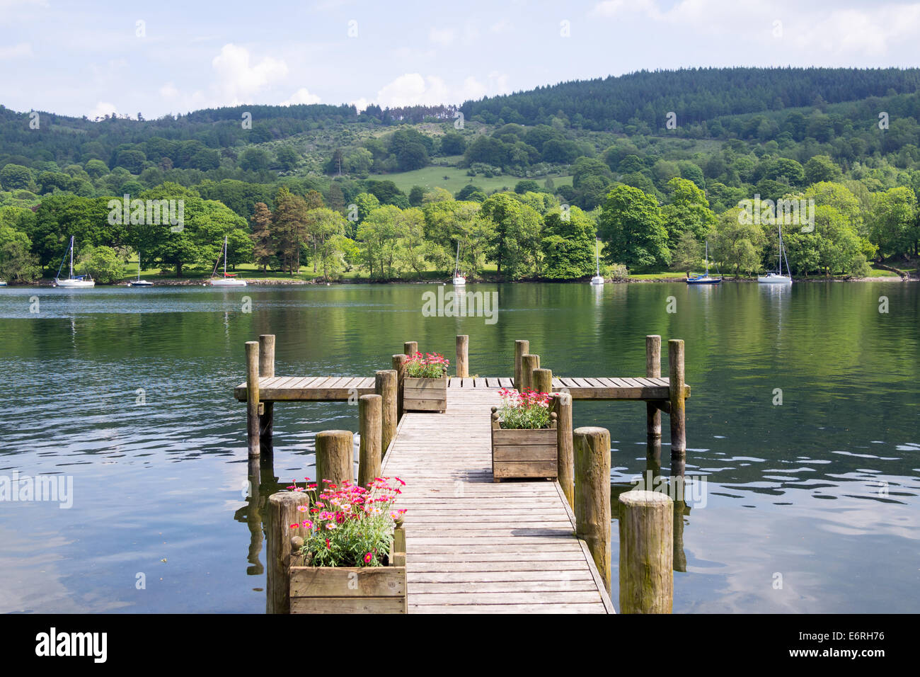 Summer scenery viewed over the Lake Windermere from Lakeside in the Lake District. - Stock Image