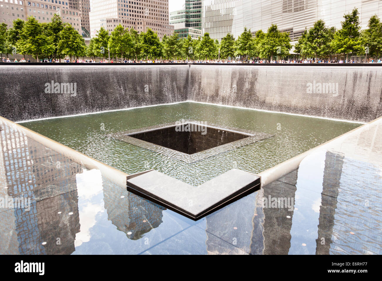 One of the two waterfalls at National September 11 Memorial, World Trade Center, Manhattan, New York City, New York, - Stock Image