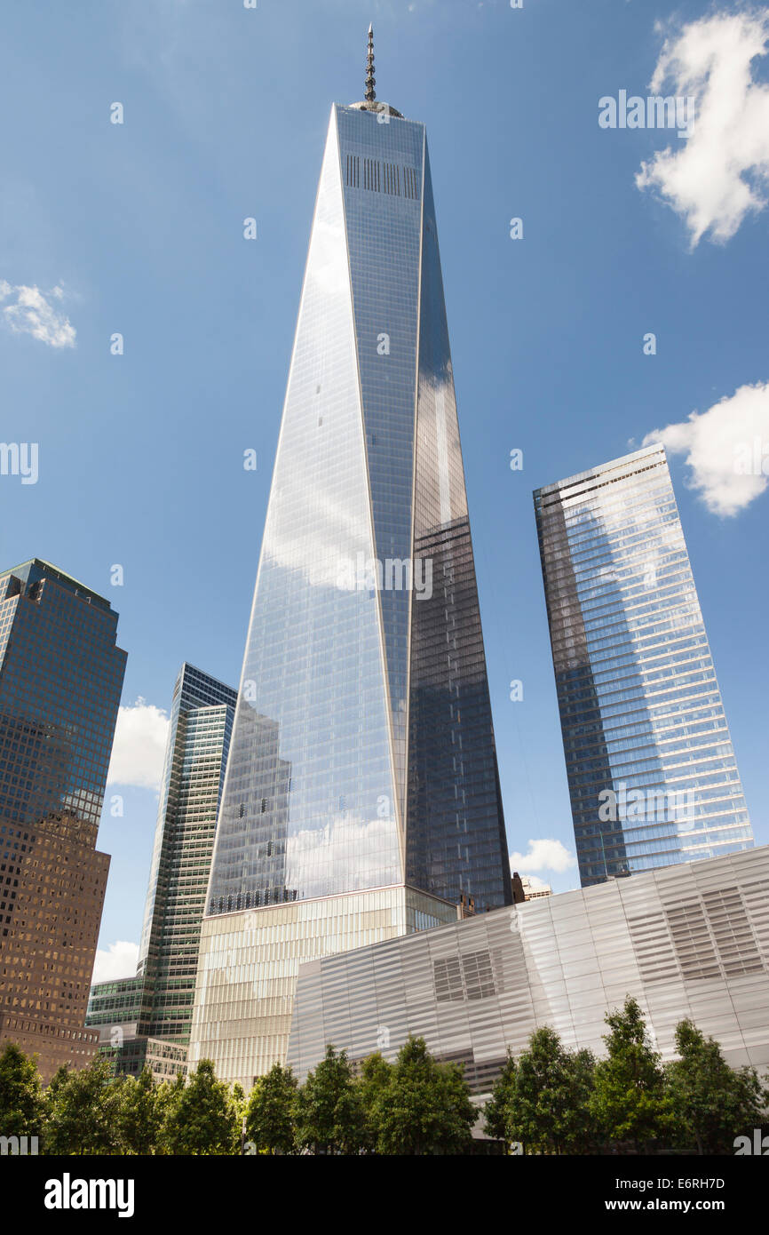 One World Trade Center also known as Tower 1 and Freedom Tower, Tower 7 on right, Manhattan, New York City, New - Stock Image