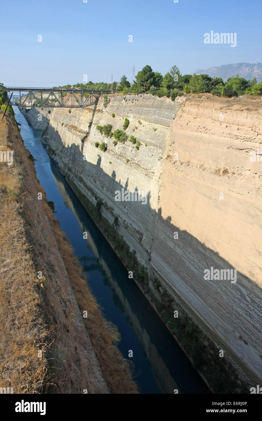 The Corinth Canal in Greece. Stock Photo