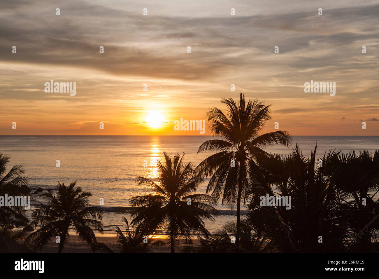 Sunset over the sea, Surin Beach, Phuket, Thailand with silhouettes of palm trees against a colourful orange sky Stock Photo