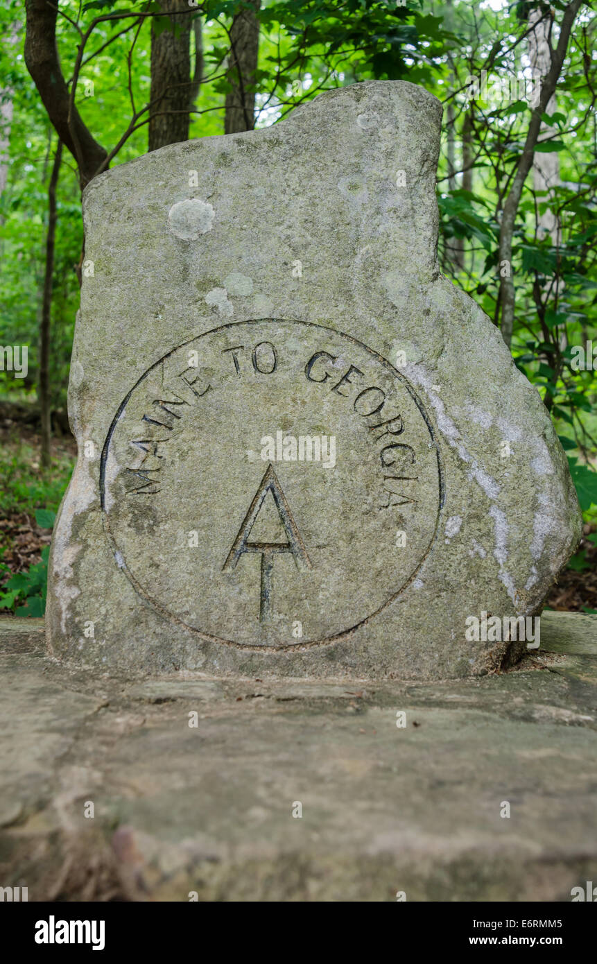 The first sign hikers completing the Appalachian Trail as they embark from its Southern most point near Springer - Stock Image