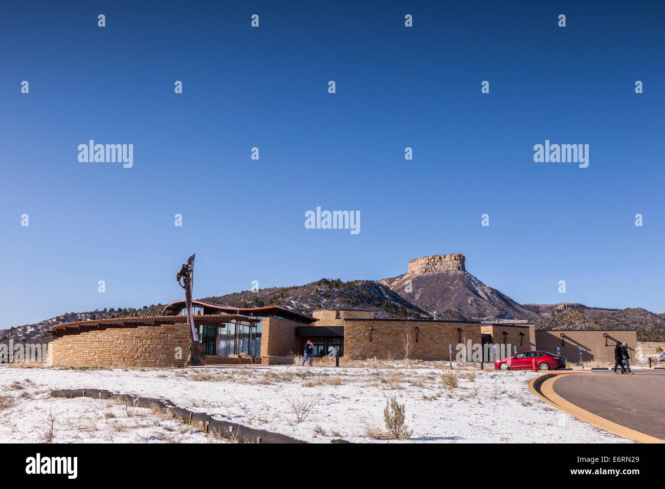 The Visitor Centre at Mesa Verde National Park, on a bright spring day. - Stock Image