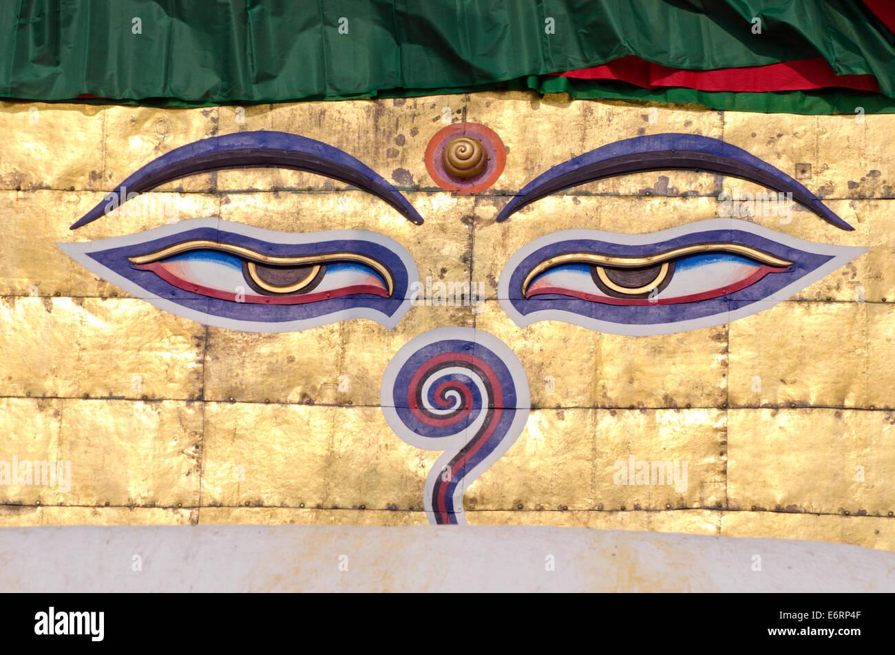 buddha wisdom eyes on stupa of Nepal swayambhunath temple, Kathmandu - Stock Image