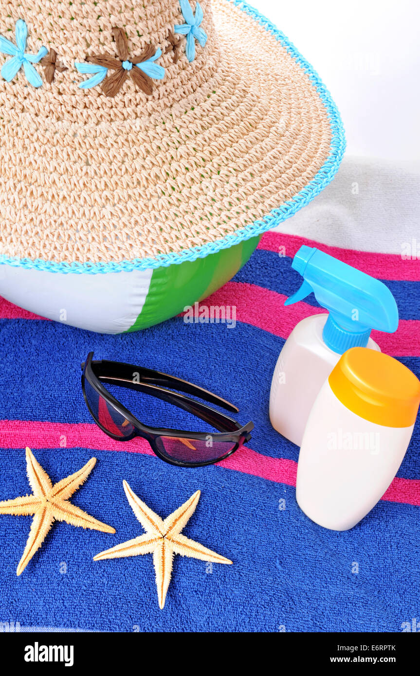 Holiday concept on the blue beach towel - Stock Image