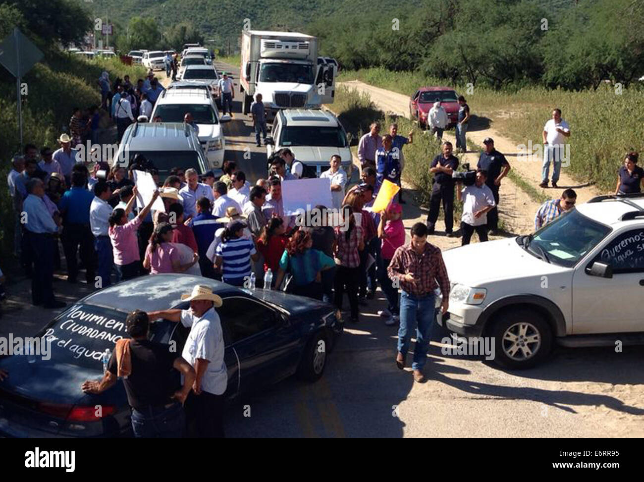 (140830) -- SONORA, Aug. 30, 2014 (Xinhua) -- Image taken on Aug. 27, 2014, of people taking part in a protest for - Stock Image