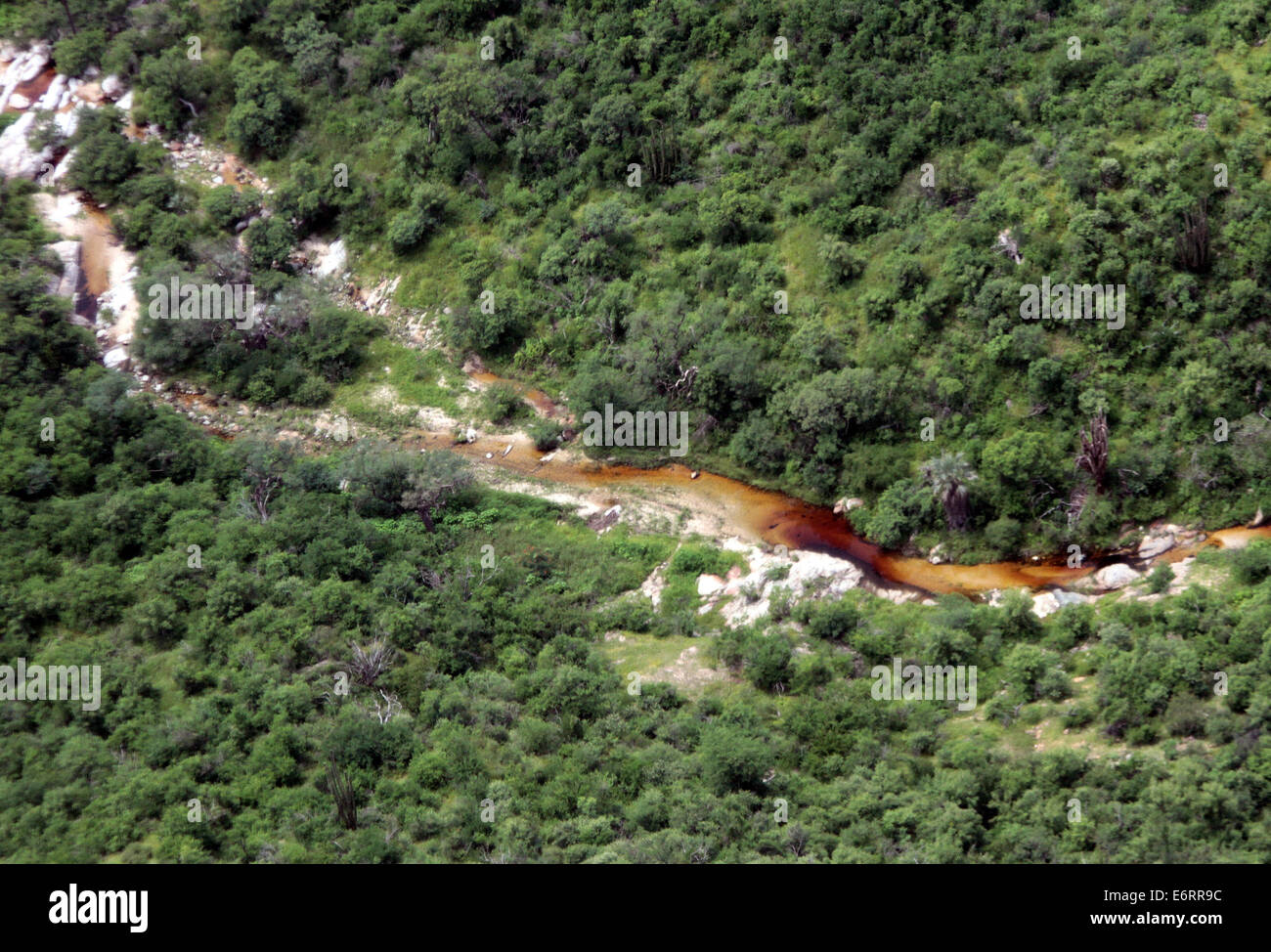 (140830) -- SONORA, Aug. 30, 2014 (Xinhua) -- Image taken on Aug. 12, 2014, showsthe aerial view of the Sonora River - Stock Image