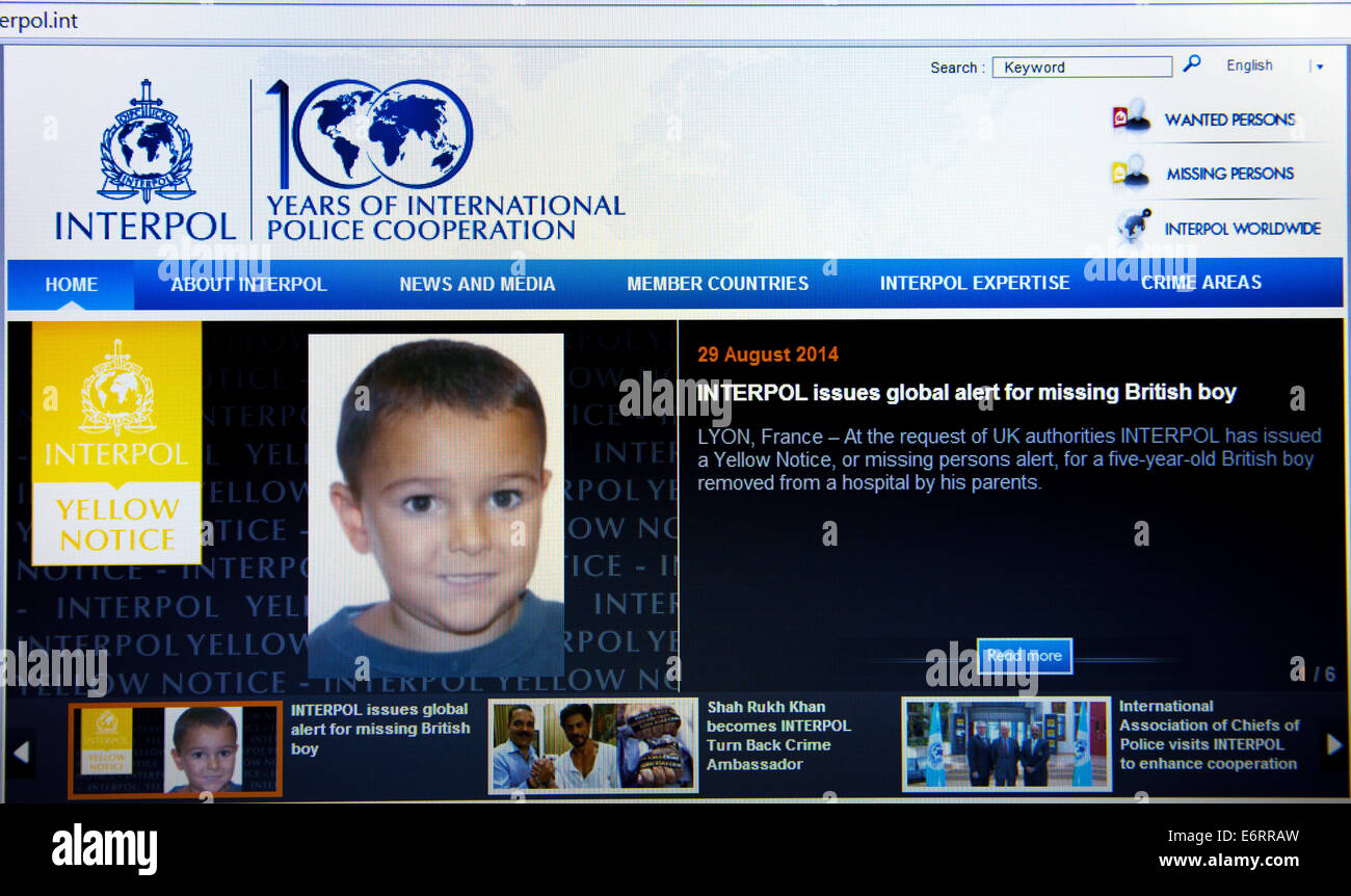 UK, 30th August 2014. INTERPOL has issued a global  missing persons alert (Yellow Notice) for 5yr old British boy, - Stock Image