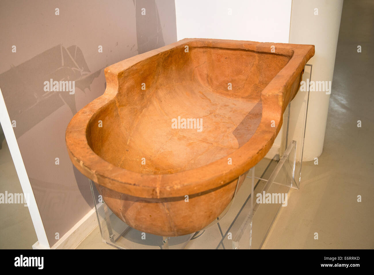 Antique Greek clay bath tube from the residential quarter of the ...