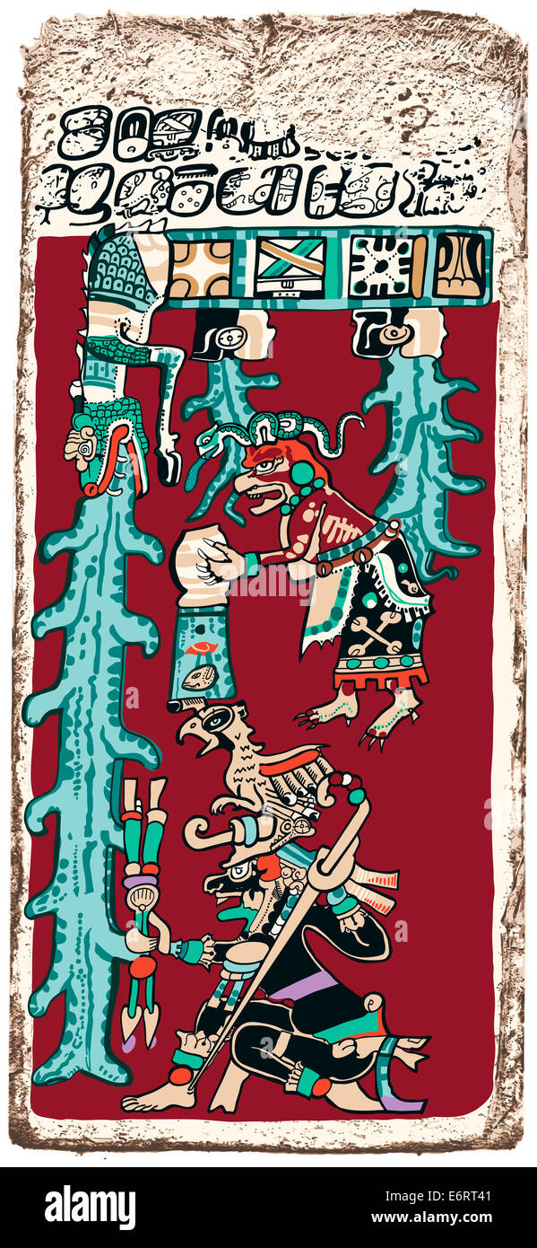 Great Flood Maya Prophecy - Papyrus of the Dresden Maya Codex predicting the Great Flood, Doomsday. - Stock Image
