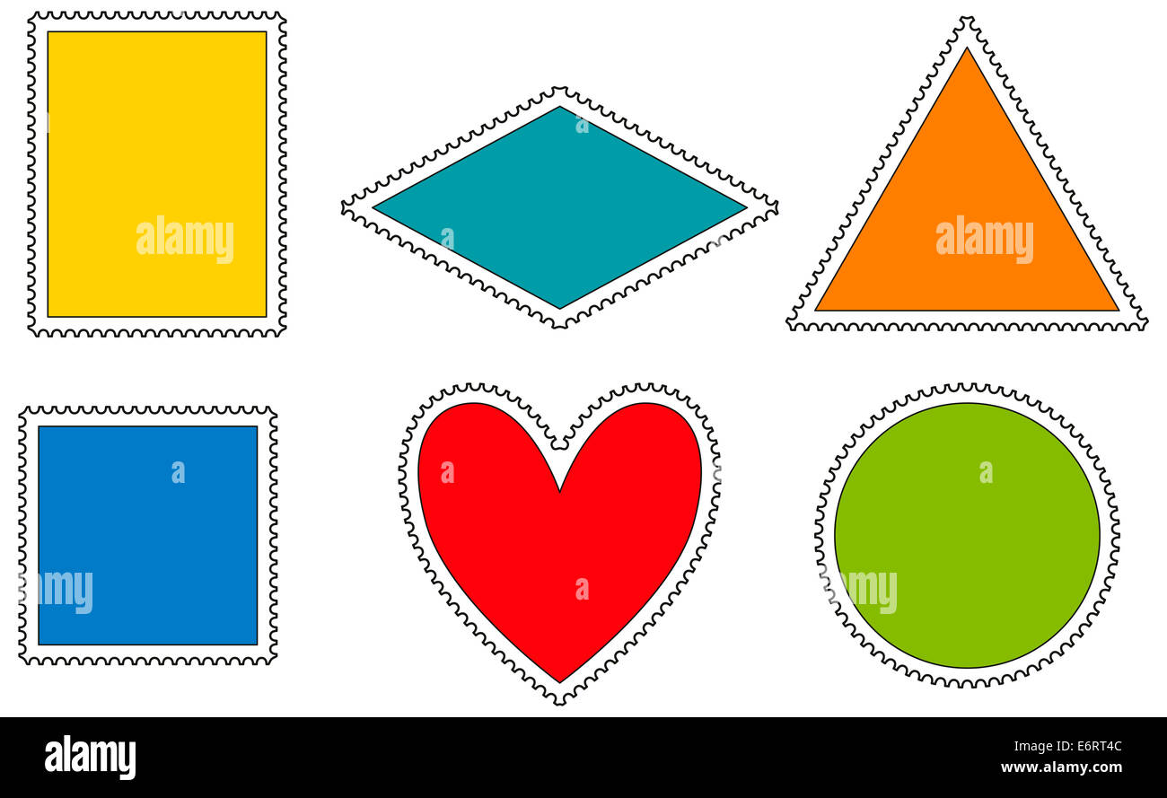 postage stamps template variations in the shape of a rectangle