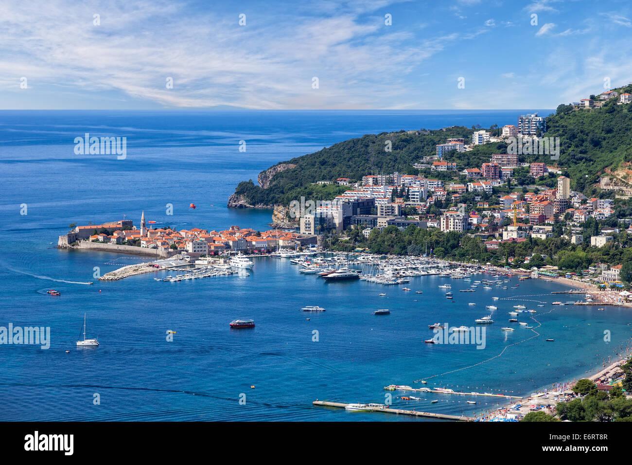 Top view of the seacoast of Budva, Montenegro. Stock Photo