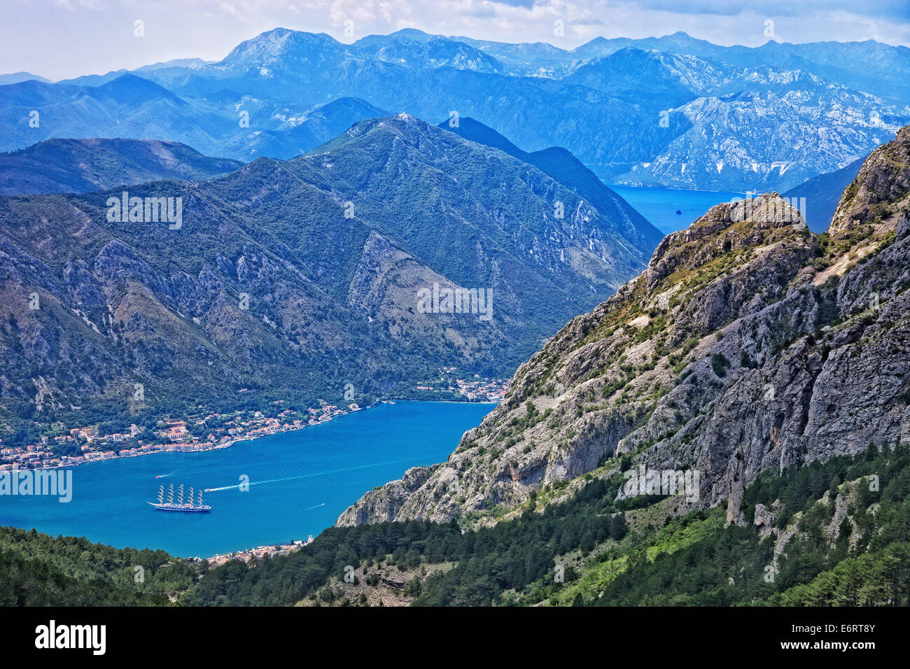 Top view of the Bay of Kotor panorama, Montenegro. Stock Photo