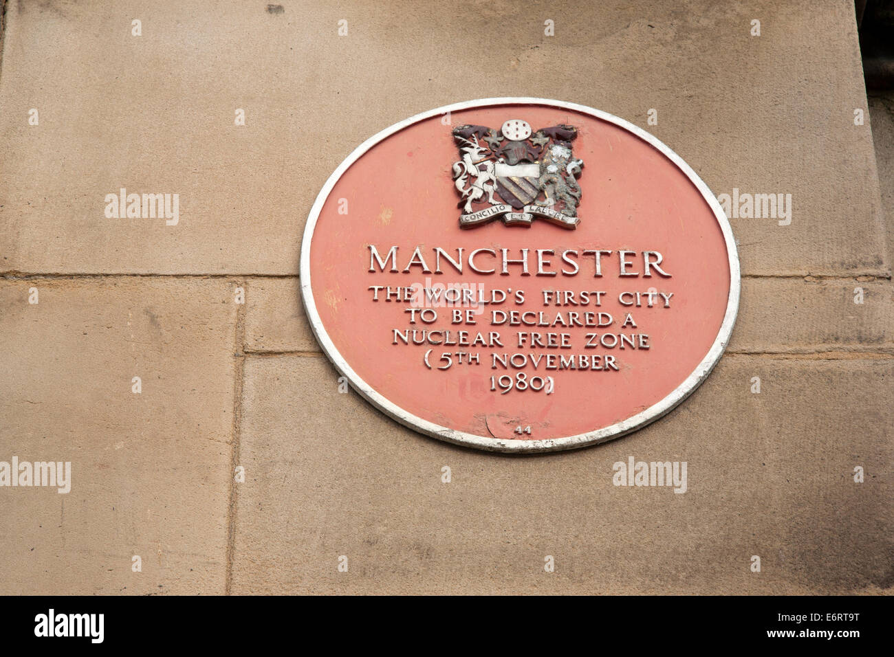 Nuclear Free Zonew Plaque on Town Hall, Manchester by Waterhouse (1877), England, UK - Stock Image
