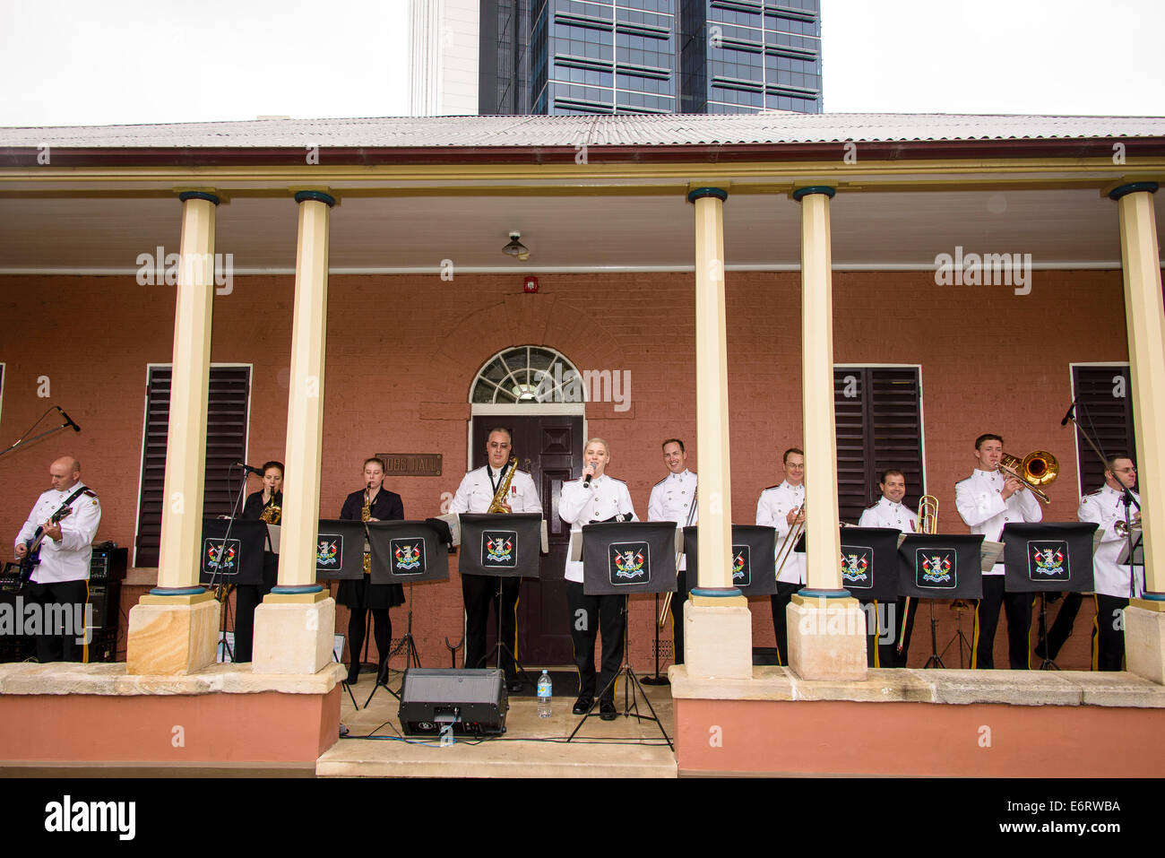 .Royal NSW Lancers Band plays during the Lancer Barracks Open Day in Parramatta. - Stock Image