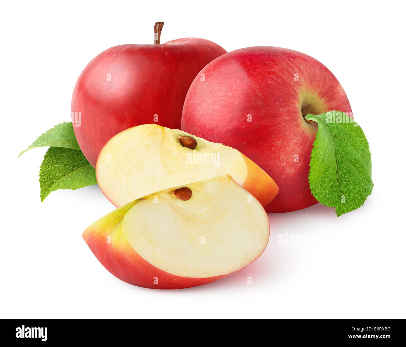 Red apples on white background - Stock Image