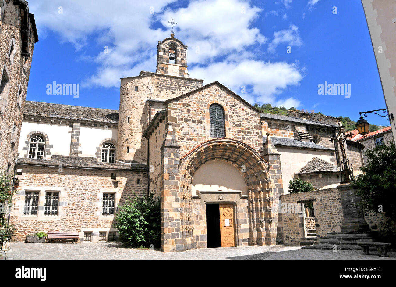 The Romanesque church of Saint-Pierre in the medieval city of Blesle, Haute Loire, Auvergne, France Stock Photo