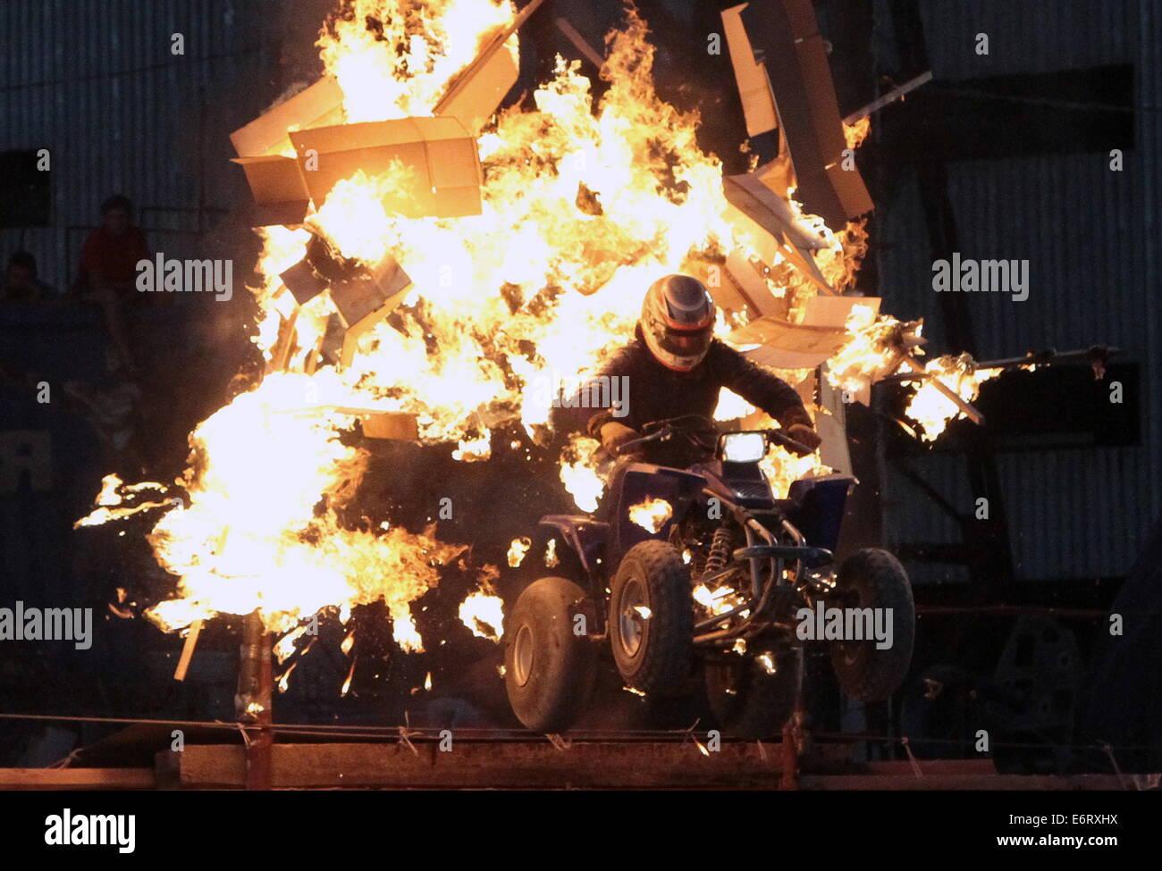 Sevastopol, Russia. 29th Aug, 2014. A stuntman performs during Prometey [Prometheus] international festival of stunts - Stock Image