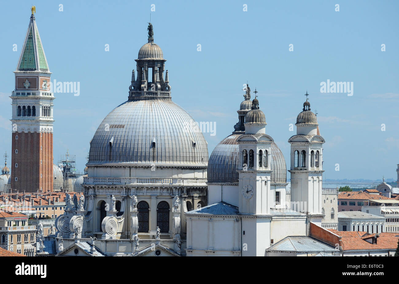 The skyline of Venice towers, Domes and red tiled roofs. - Stock Image