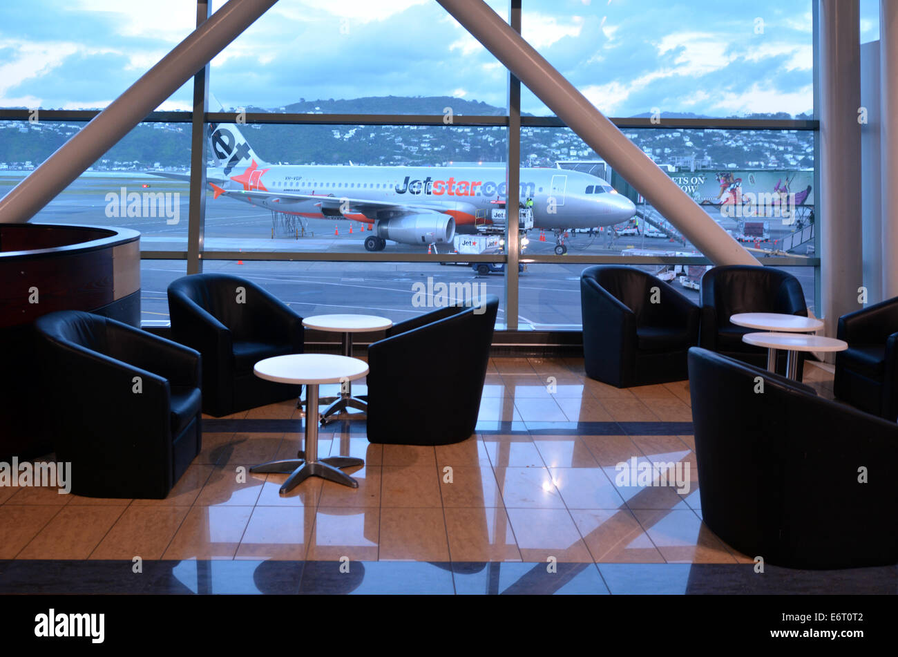 WELLINGTON - AUG 21 2014:Jetstar Airways plane at Wellington International Airport.The airline was established by - Stock Image