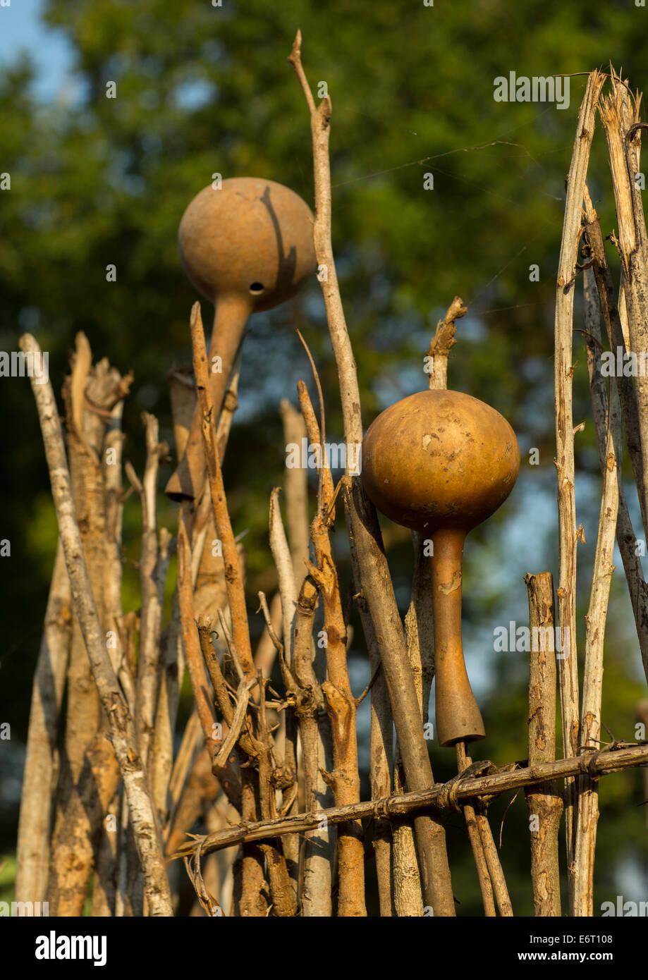 Calabashes In Abobo, Former Anuak King Village, Gambela Region, Ethiopia - Stock Image