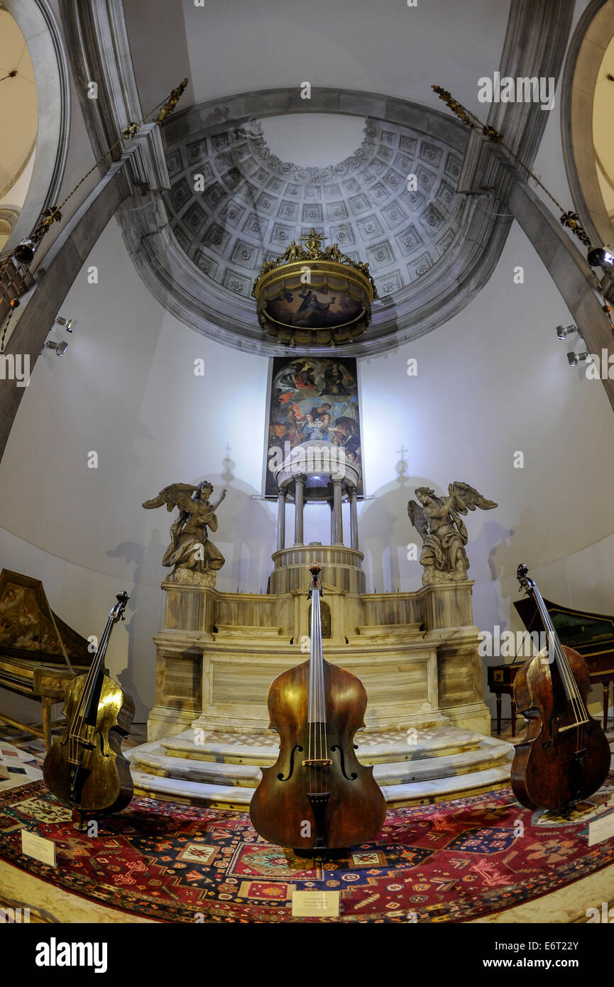String musical instruments at the Vivaldi  museum in Venice, Italy - Stock Image