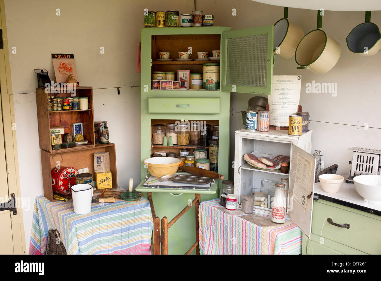Replica 1940s wartime english kitchen at a historical reenactment. Military Odyessy show at Detling, Kent, UK - Stock Image