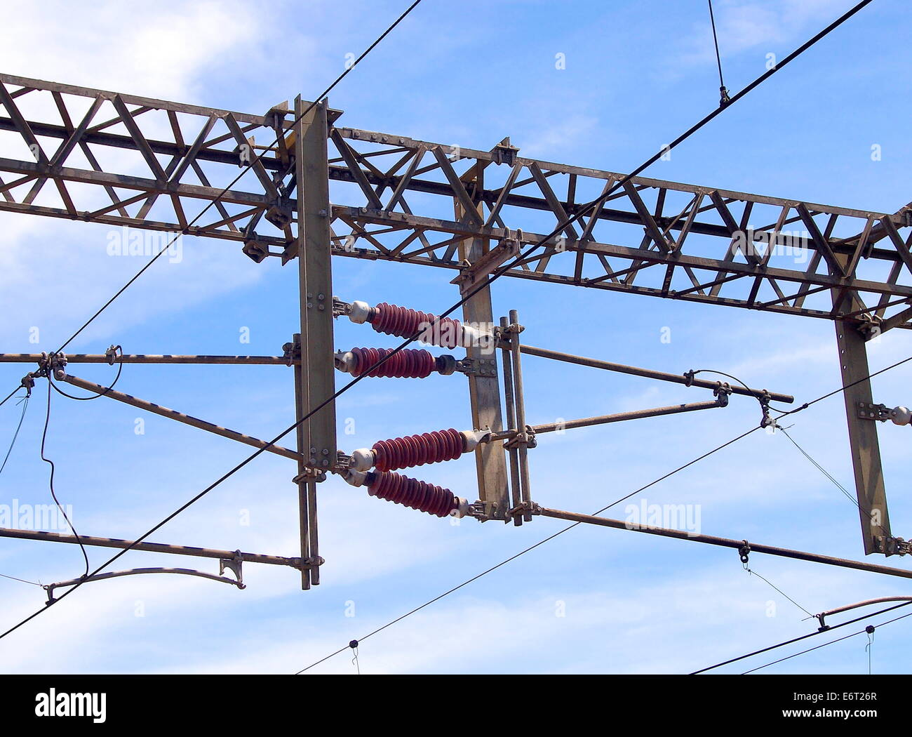Overhead line of railway tracks closeup Stock Photo