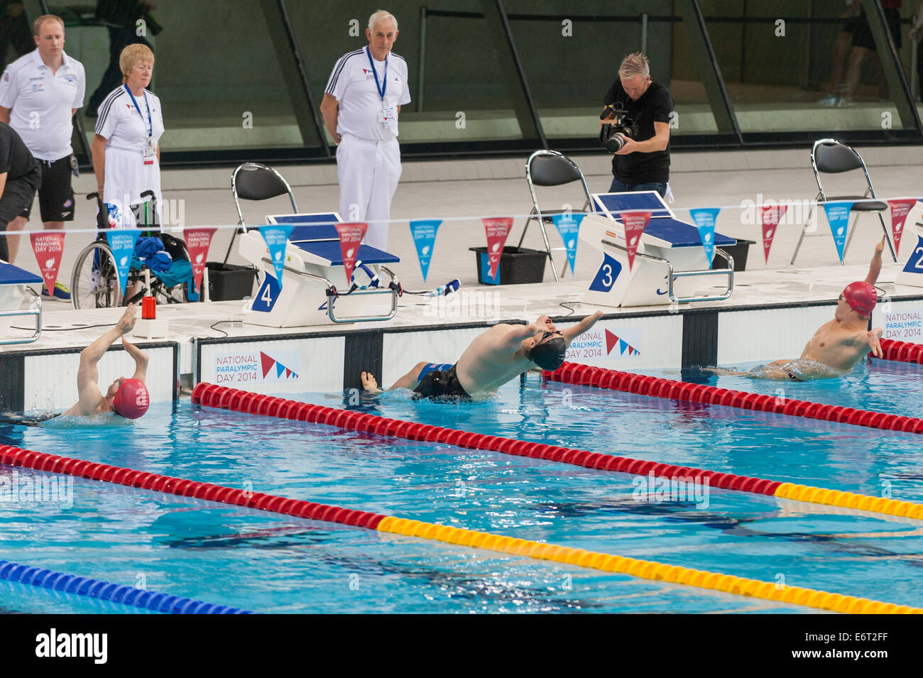 Sport swimming backstroke start stock photos sport - Queen elizabeth olympic park swimming pool ...