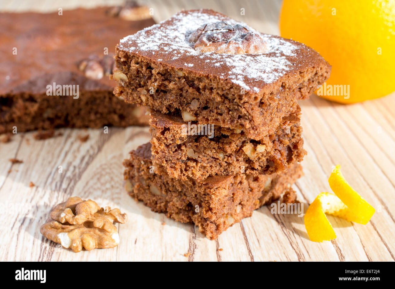 Brownie cake with orange and walnuts - Stock Image