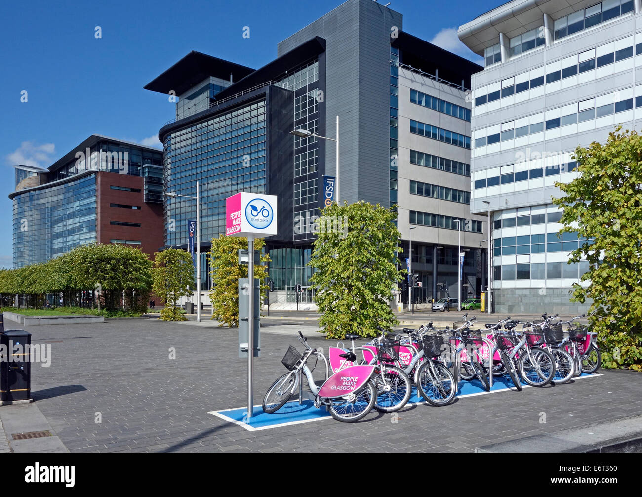 New cycle racks at Broomielaw buildings on Atlantic Quay at the River Clyde in central Glasgow Scotland - Stock Image
