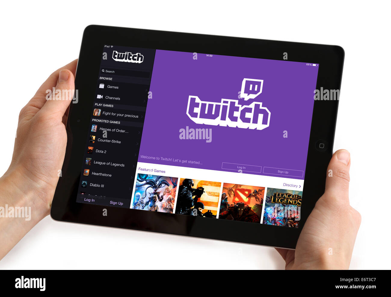 The video streaming gaming app Twitch, viewed on an Apple ipad - Stock Image