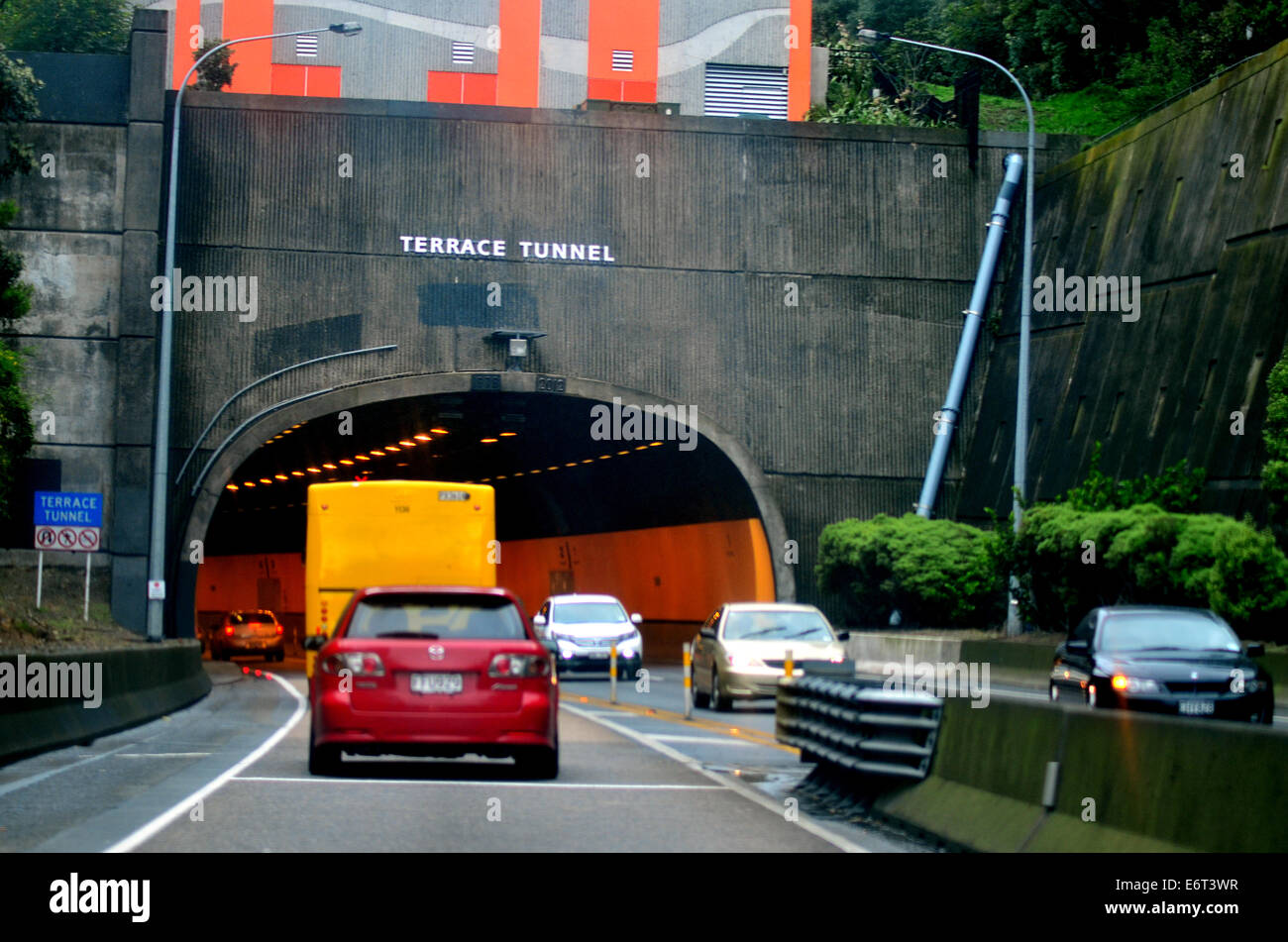 Traffic on the Terrace Tunnel in Wellington New Zealand. - Stock Image