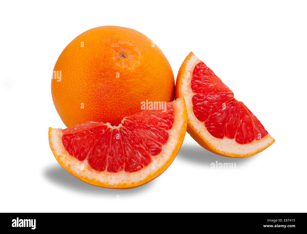 Ripe grapefruit isolated on white background - Stock Image