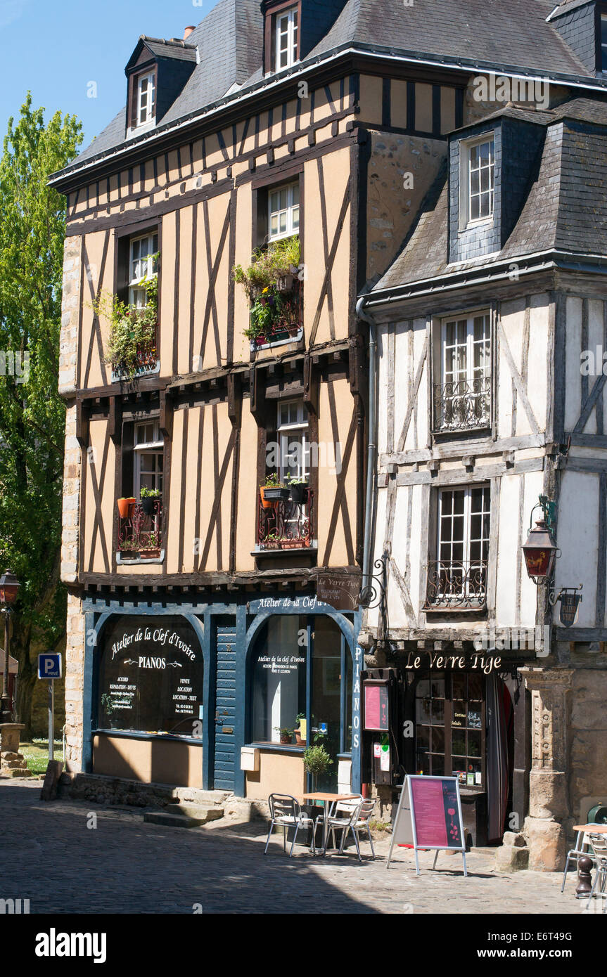 Half timbered buildings old town Le Mans, France, Europe - Stock Image
