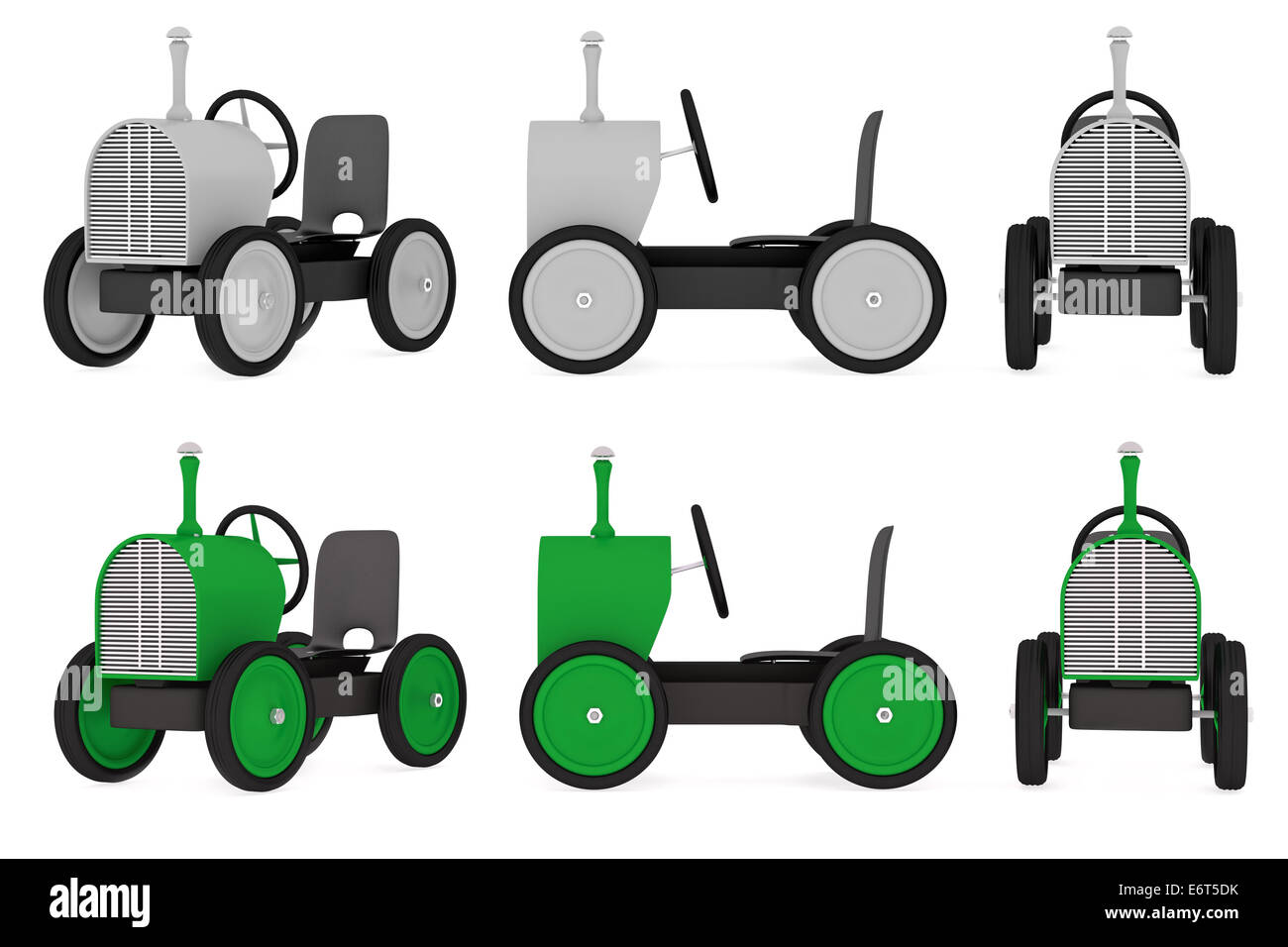 Toy tractor collection, silver and green colors, rendered model - Stock Image